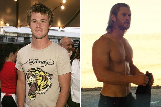 <p>Of all the Marvel transformations, Hemsworth's is perhaps the most impressive. After shaping up for 'Avengers', he had to drop 30lbs in 4 months to play James Hunt in 'Rush', only to pack it all back on again for 'Thor 2' just months later.<br /></p>