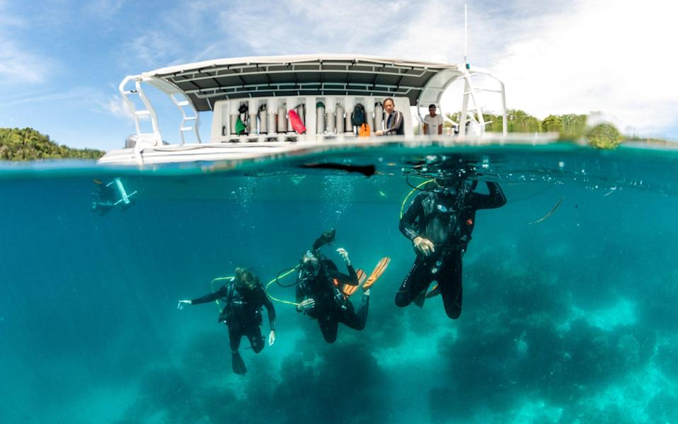Family diving in Indonesia