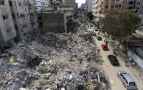 A drone photo of the destroyed buildings where several people were killed after they were hit last week by Israeli airstrikes, in Gaza City, Saturday, May 22, 2021.(AP Photo/Khalil Hamra)