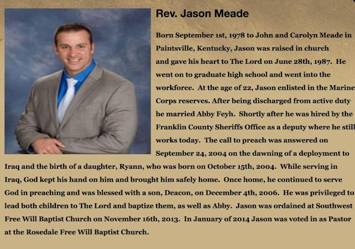 Meade's biography from the archived website of the church he serves at, Rosedale Free Will Baptist Church in Madison County. The church's website has been taken down since Meade shot and killed Casey Goodson Jr. on Dec. 4.
