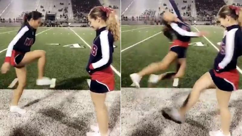 The cheerleader's act two may be even better than act one. Pic: Twitter
