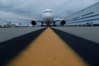 FILE PHOTO: The new Boeing 787-10 Dreamliner sits on the tarmac before a delivery ceremony to Singapore Airlines at the Boeing South Carolina Plant in North Charleston