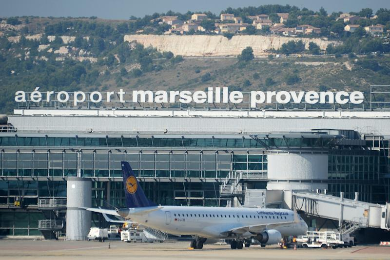 This photo taken on June 30, 2015 shows an aerial view of the Marseille Provence airport in Marseille, southern France. (Boris Horvat, Pool image via AP)