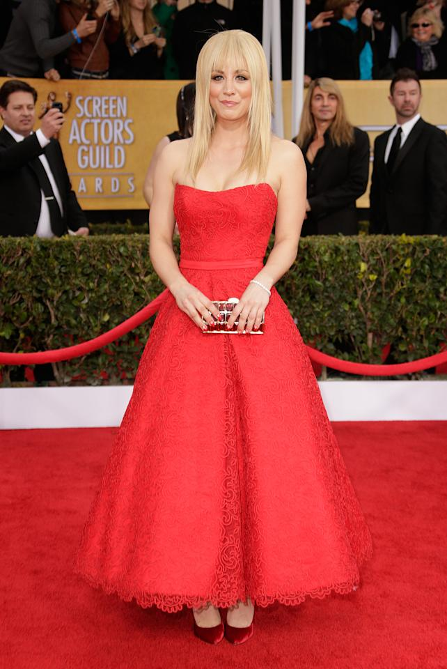 Kaley Cuoco arrives at the 19th Annual Screen Actors Guild Awards at the Shrine Auditorium in Los Angeles, CA on January 27, 2013.