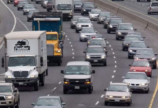 Traffic, seen here in Toronto, was largely absent during the first few months of the COVID-19 pandemic, which is believed to have helped contribute to a decline in air pollutants in 2020.