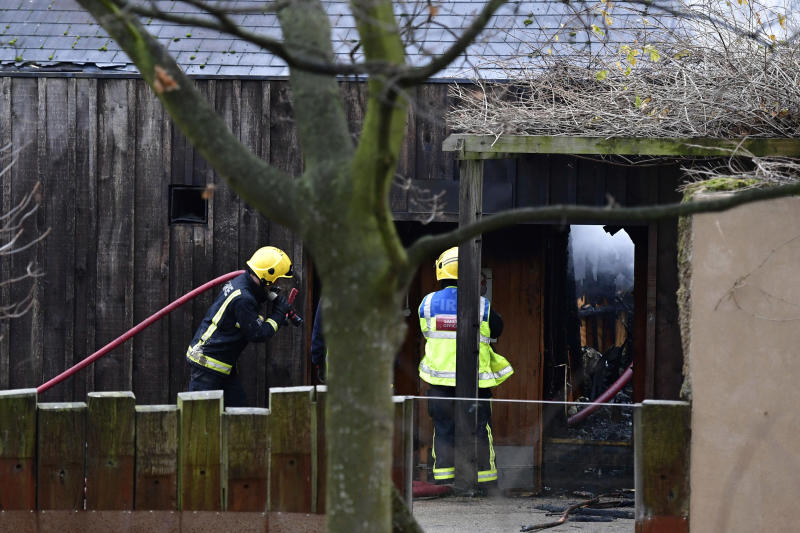 "Firefighters work at the scene of a fire, at the Adventure cafe and shop near the Meerkat enclosure at London Zoo, in London, Saturday Dec. 23, 2017. A fire at London Zoo has been brought under control but it is not clear if any animals were injured. Zoo officials initially said Saturday morning ""it is not believed"" animals were hurt after the blaze broke out in a zoo cafe near an animal petting area, but later reports suggested at least one animal may be missing. (Dominic Lipinski/PA via AP)"