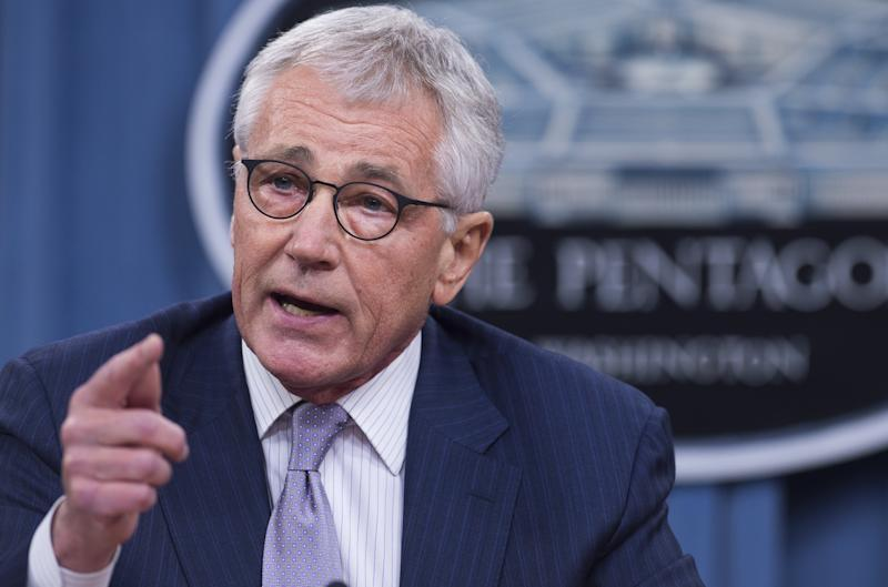 US Secretary of Defense Chuck Hagel holds a press briefing at the Pentagon in Washington, DC, August 21, 2014