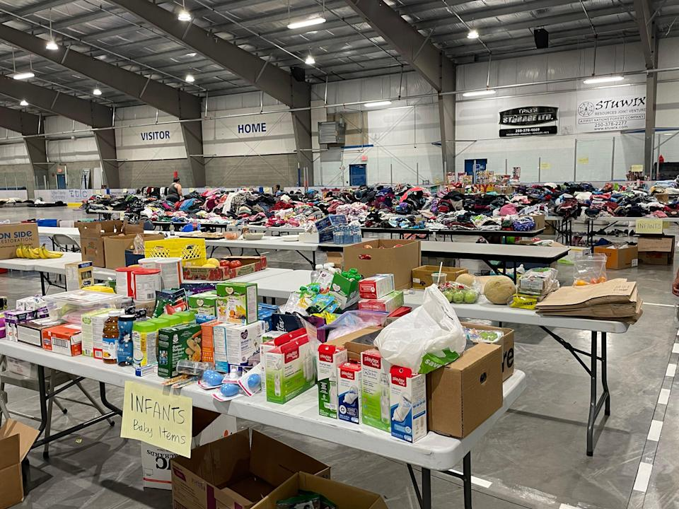 Donations are set up in the hockey rink in the Shulus Community Arena. (Ashleigh Stewart)