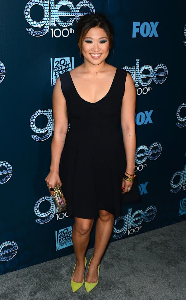 """LOS ANGELES, CA - MARCH 18: Actress Jenna Ushkowitz attends Fox's """"GLEE"""" 100th Episode Celebration held at Chateau Marmont on March 18, 2014 in Los Angeles, California. (Photo by Mark Davis/Getty Images)"""