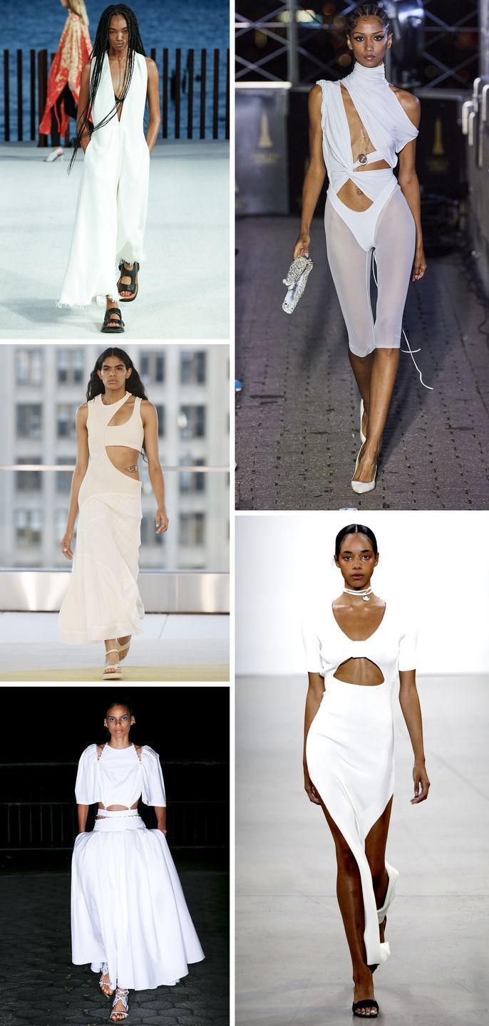 <p>Sheer black gowns not quite your desired after-dark fare? A worthwhile contender for after-dark is the cutout white dress. Give your abs their moment under the moon in high-gloss white.</p><p><em>Pictured clockwise from left: Proenza Schouler, LaQuan Smith, Bevza, Prabal Gurung, Jonathan Simkhai.</em></p>