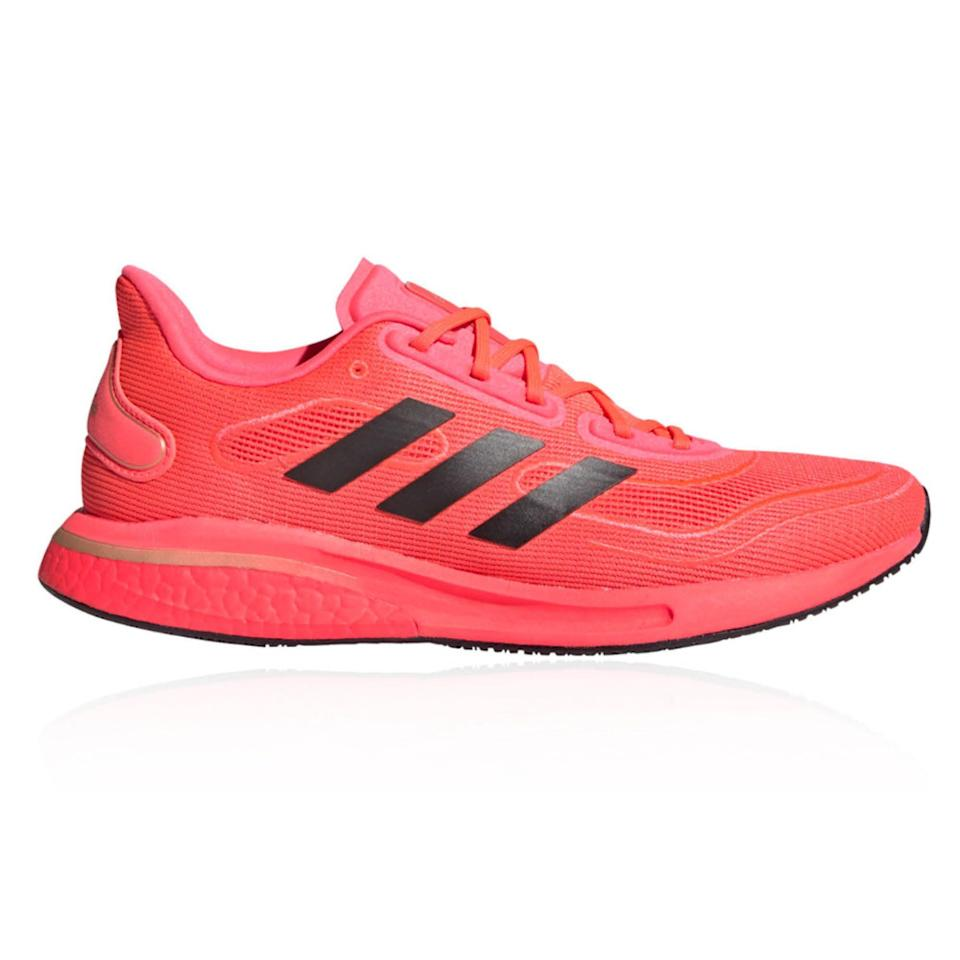 """<p><strong>Adidas</strong></p><p>amazon.com</p><p><strong>$70.00</strong></p><p><a href=""""https://www.amazon.com/dp/B0812KJTCW?tag=syn-yahoo-20&ascsubtag=%5Bartid%7C2141.g.36533538%5Bsrc%7Cyahoo-us"""" rel=""""nofollow noopener"""" target=""""_blank"""" data-ylk=""""slk:Shop Now"""" class=""""link rapid-noclick-resp"""">Shop Now</a></p><p>Adidas is known for its bouncy, plush Ultraboost foam—and the high price that accompanies it. The Supernova features Ultraboost only in the heel giving it more of a mid-cushion feel, while also making it a great choice for heel strikers looking for a bit more cushion where they need it most. </p><p><a class=""""link rapid-noclick-resp"""" href=""""https://www.amazon.com/adidas-mens-Supernova-Grey-Collegiate/dp/B083MJK3L7/ref=sr_1_6?dchild=1&keywords=adidas+supernova&qid=1621603941&sr=8-6&tag=syn-yahoo-20&ascsubtag=%5Bartid%7C2141.g.36533538%5Bsrc%7Cyahoo-us"""" rel=""""nofollow noopener"""" target=""""_blank"""" data-ylk=""""slk:Buy Men's"""">Buy Men's</a></p>"""