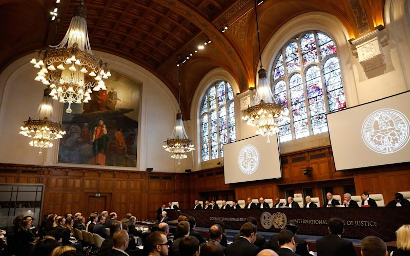 The International Court of Justice holds a public hearing in the case Ukraine v. Russian Federation, on March 6, 2017 in the Hague - BAS CZERWINSKI/AFP