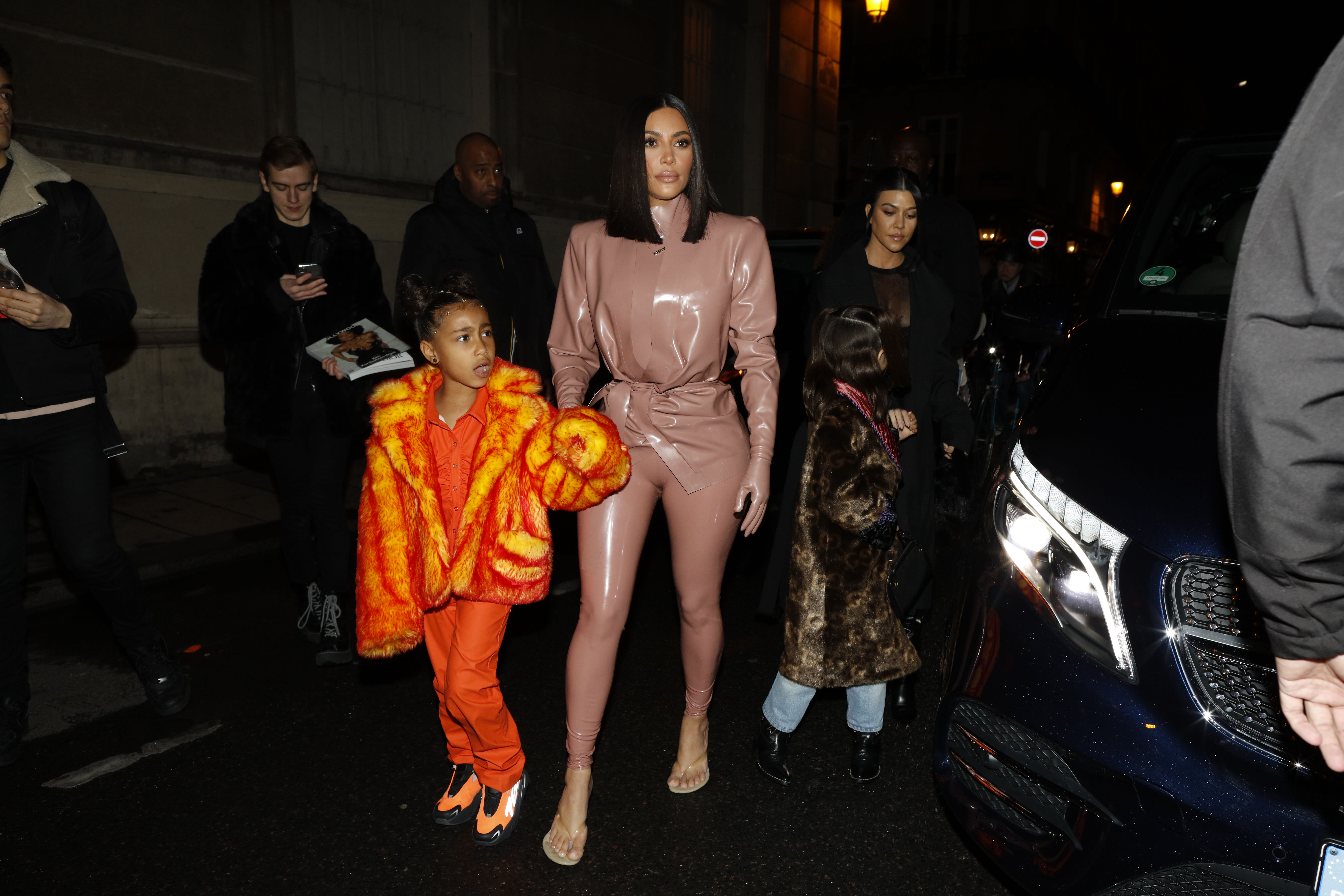 Kourtney Kardashian, daughter Penelope Disick, Kim Kardashian and daughter North West arrive at the Ferdi restaurant on March 01, 2020 in Paris, France. (Photo by Mehdi Taamallah/NurPhoto via Getty Images)