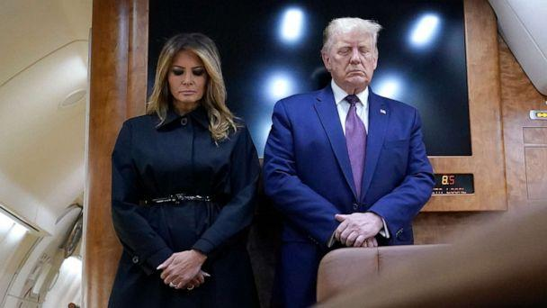 PHOTO: President Donald Trump and first lady Melania Trump pause for a moment of silence on Air Force One as he arrives at the airport in Johnstown, Pa., on his way to speak at the Flight 93 National Memorial, Sept. 11, 2020, in Shanksville, Pa. (Alex Brandon/AP)
