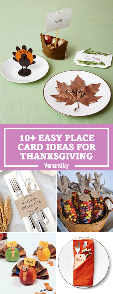 """<p>Save these easy Thanksgiving place card ideas for later! Don't forget to <a rel=""""nofollow"""" href=""""https://www.pinterest.com/womansday/"""">follow <em>Woman's Day</em> on Pinterest</a> for more Thanksgiving ideas. <span></span></p>"""