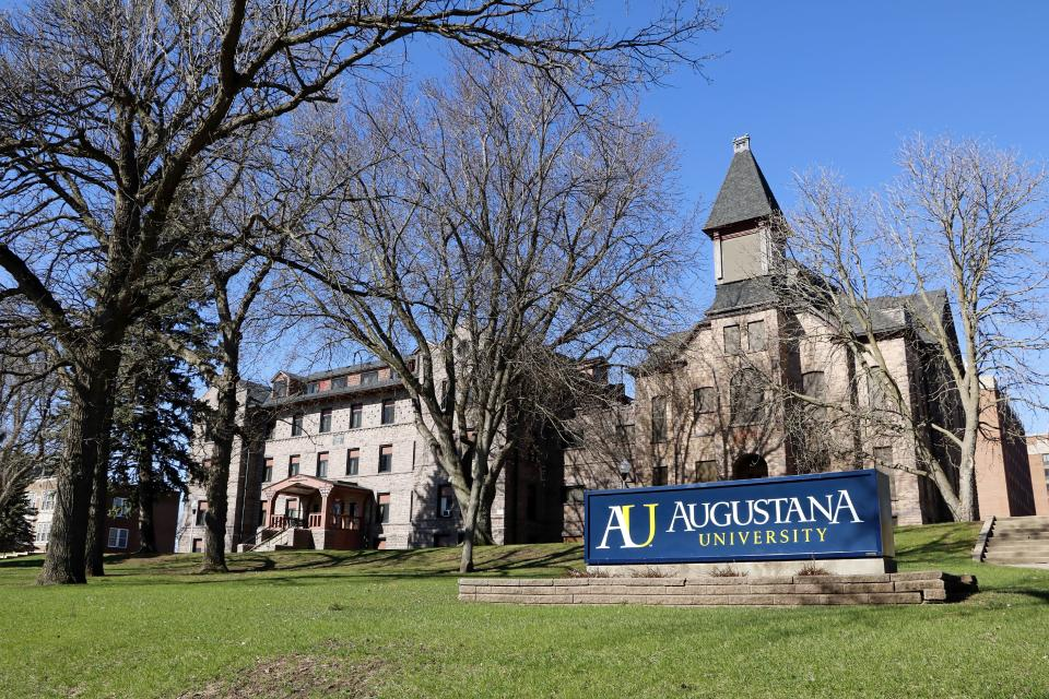 Campus entrance sign for Augustana University in Sioux Falls, South Dakota