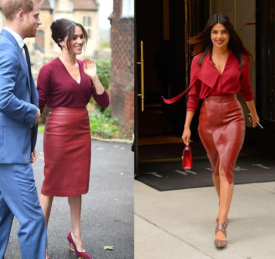 <p>With Priyanka Chopra and Meghan Markle being such good friends, it's hard to tell who was inspired by who with these burgundy monochrome looks. The <em>Baywatch</em> actress coordinated her leather pencil skirt with a matching blouse in New York City in 2018, while Markle arrived at a Queen's Commonwealth Trust event in 2019 in a similar look. </p>