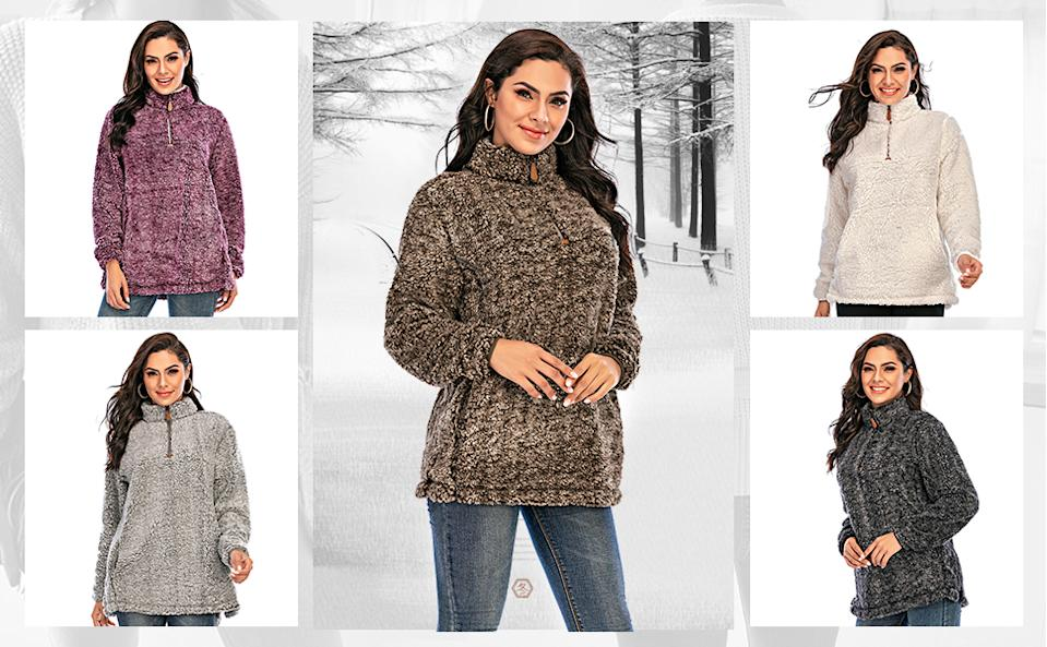 Les Umes Women's Sherpa Fuzzy Fleece Sweatshirt is Amazon Canada's best-selling fleece jacket and a comfy staple at just $40. Image via Amazon.