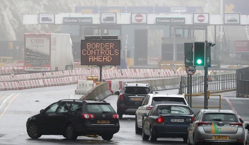 Vehicles arrive at the Port of Dover in Kent, ahead of the UK leaving the European Union at 11pm on Friday.