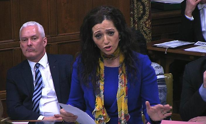 """Scottish National Party MP Tasmina Ahmed-Sheikh speaks during a debate at the Houses of Parliament in London on January 18, 2016 on whether to ban US presidential hopeful Donald Trump from entering the country for """"hate speech"""" (AFP Photo/)"""