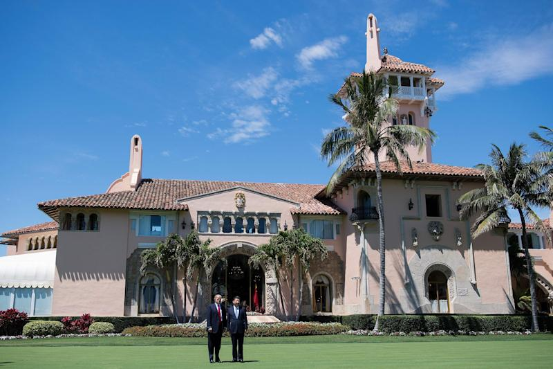 Donald Trump and Chinese President Xi Jinping pose together at the Mar-a-Lago estate in West Palm Beach, Florida: JIM WATSON/AFP/Getty Images