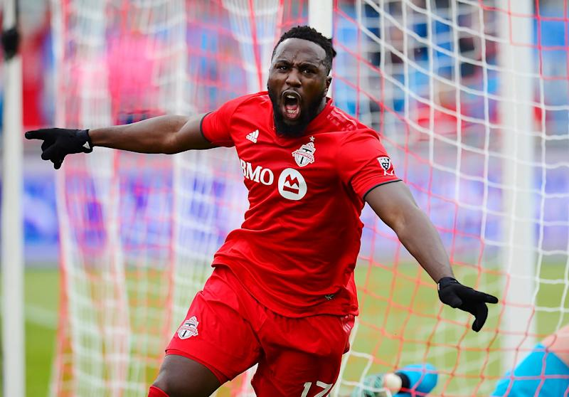ddf0ee8ce05 Toronto FC forward Jozy Altidore (17) celebrates his goal against the  Chicago Fire during