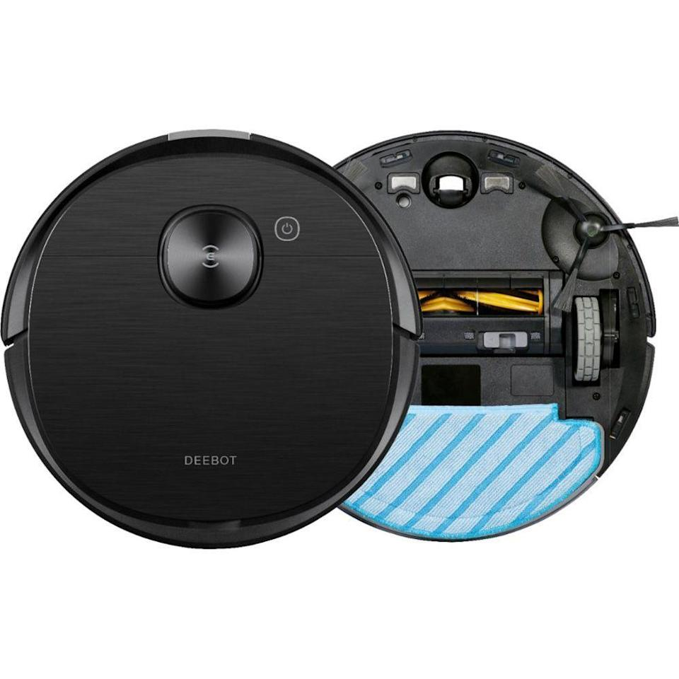"<p><strong>ECOVACS Robotics</strong></p><p>bestbuy.com</p><p><strong>$699.99</strong></p><p><a href=""https://go.redirectingat.com?id=74968X1596630&url=https%3A%2F%2Fwww.bestbuy.com%2Fsite%2Fecovacs-robotics-deebot-ozmo-t8-aivi-robot-vacuum-mop-black%2F6407315.p%3FskuId%3D6407315&sref=https%3A%2F%2Fwww.goodhousekeeping.com%2Fhome%2Fcleaning%2Fg31789666%2Fbest-robot-mops%2F"" rel=""nofollow noopener"" target=""_blank"" data-ylk=""slk:Shop Now"" class=""link rapid-noclick-resp"">Shop Now</a></p><p>The latest offering from Ecovacs, the Deebot OZMO T8 checks all the boxes for an ideal combo robot vacuum and mop, and includes peace of mind too. The sophisticated encrypted HD livestream lets you keep an eye on what's happening while you're not there, so you can not only see when Fido is jumping on the couch, but voice technology now allows you to stop him in his tracks. </p><p>From one of the top brands in our recent test of robot vacuums, the Ozmo T8 has improved its obstacle detection, making it less critical for you to pick up toys, shoes, and even cables before instructing the robot to get to work. More accurate multi-floor mapping makes it efficient at cleaning your home. </p><p>When the water tank and mopping pad is installed, the Ozmo T8 knows to vacuum and mop simultaneously. Water seeps through the mopping pad to damp-wipe your floors, but only after dirt is first sucked up by the vacuum. It can identify carpet, and won't go onto it if the Ozmo T8 is in mopping mode. If your carpet needs cleaning, you'll need to detach the mopping pad first.</p>"