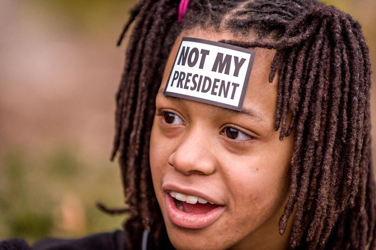 <p>Madasun Coates, (cq) 12, MD., marched in support of women's rights. Thousands of demonstrators gather in the Nation's Capital for the Women's March on Washington to protest the policies of President Donald Trump. January 21, 2017. (Photo: Mary F. Calvert for Yahoo News) </p>