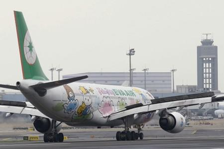 FILE PHOTO: An Airbus aircraft of Taiwan's Eva Airlines is seen with Hello Kitty motifs in Taoyuan International Airport