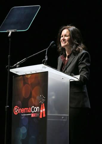Regal Entertainment Group CEO Amy Miles receives 2013 NATO Marquee Award in Las Vegas. Source: Regal ...