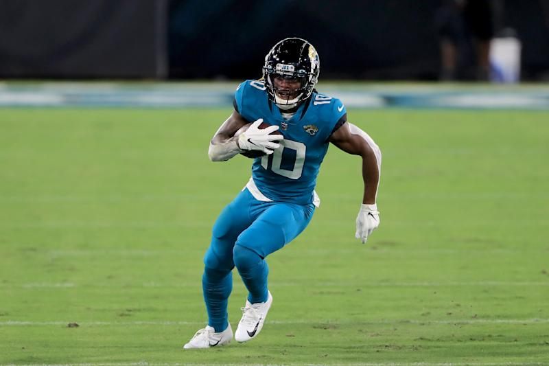 Laviska Shenault Jr. #10 of the Jacksonville Jaguars