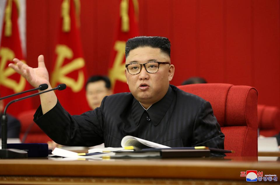 North Korean leader Kim Jong Un speaks during the opening of the 3rd Plenary Meeting of the 8th Central Committee of the Workers' Party of Korea (WPK), in Pyongyang, North Korea, in this undated photo released on June 16, 2021 by North Korea's Korean Central News Agency (KCNA). KCNA/via REUTERS  ATTENTION EDITORS - THIS IMAGE WAS PROVIDED BY A THIRD PARTY. REUTERS IS UNABLE TO INDEPENDENTLY VERIFY THIS IMAGE. NO THIRD PARTY SALES. SOUTH KOREA OUT.