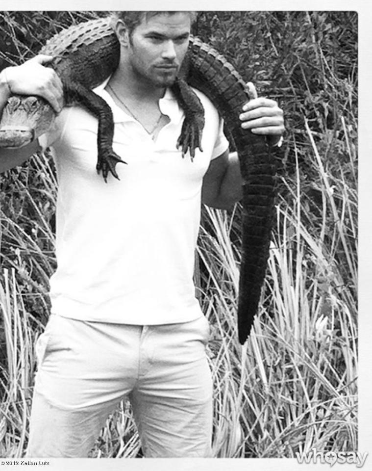 "Just another day in the life of Kellan Lutz. On Monday, the young hunk posed with a mild-mannered crocodile in the Florida Everglades and posted the pic to his <a target=""_blank"" href=""http://www.whosay.com/kellanlutz?tab=trending"">WhoSay account</a> to help raise awareness for the non-profit <a target=""_blank"" href=""http://www.evergladesfoundation.org/"">Everglades Foundation</a>. <span style=""color:#000000;font-family:Helvetica, Arial, sans-serif;font-size:13px;font-style:normal;font-weight:normal;background-color:#ffffff;display:inline;"">""Such beautiful animals! True dinosaurs. Help us protect them,"" Kellan wrote. (7/9/2012) <br></span>"
