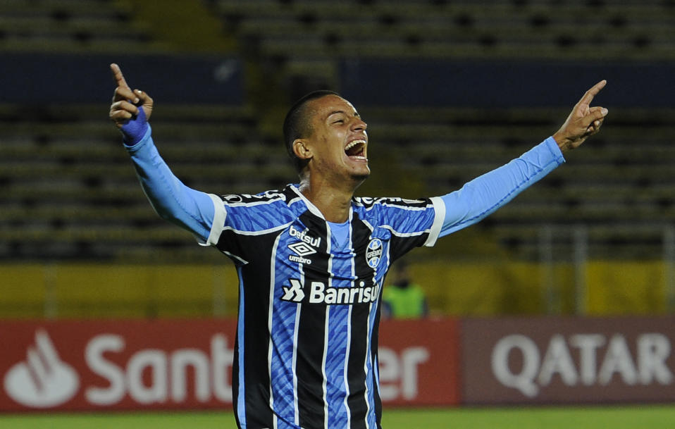Brazil's Gremio Ricardinho celebrates after scoring during their Copa Libertadores football tournament second round match at the Atahualpa Olympic Stadium in Quito on March 16, 2021. (Photo by SANTIAGO ARCOS / various sources / AFP) (Photo by SANTIAGO ARCOS/AFP via Getty Images)