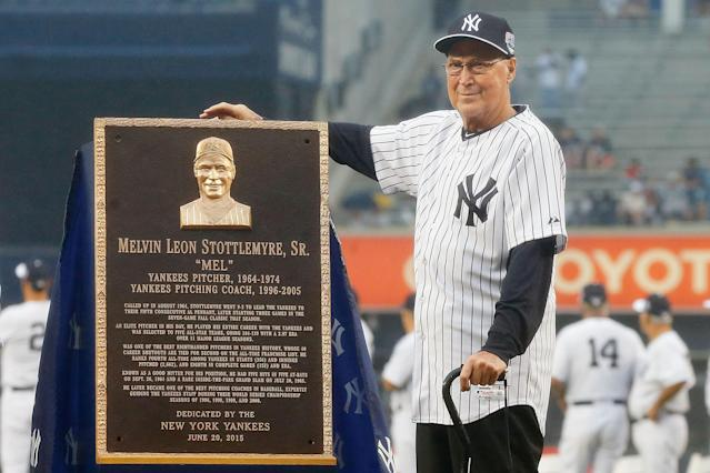 "Legendary <a class=""link rapid-noclick-resp"" href=""/mlb/teams/ny-yankees/"" data-ylk=""slk:Yankees"">Yankees</a> and <a class=""link rapid-noclick-resp"" href=""/mlb/teams/ny-mets/"" data-ylk=""slk:Mets"">Mets</a> pitching coach Mel Stottlemyre died on Sunday at age 77. (Photo by Jim McIsaac/Getty Images)"