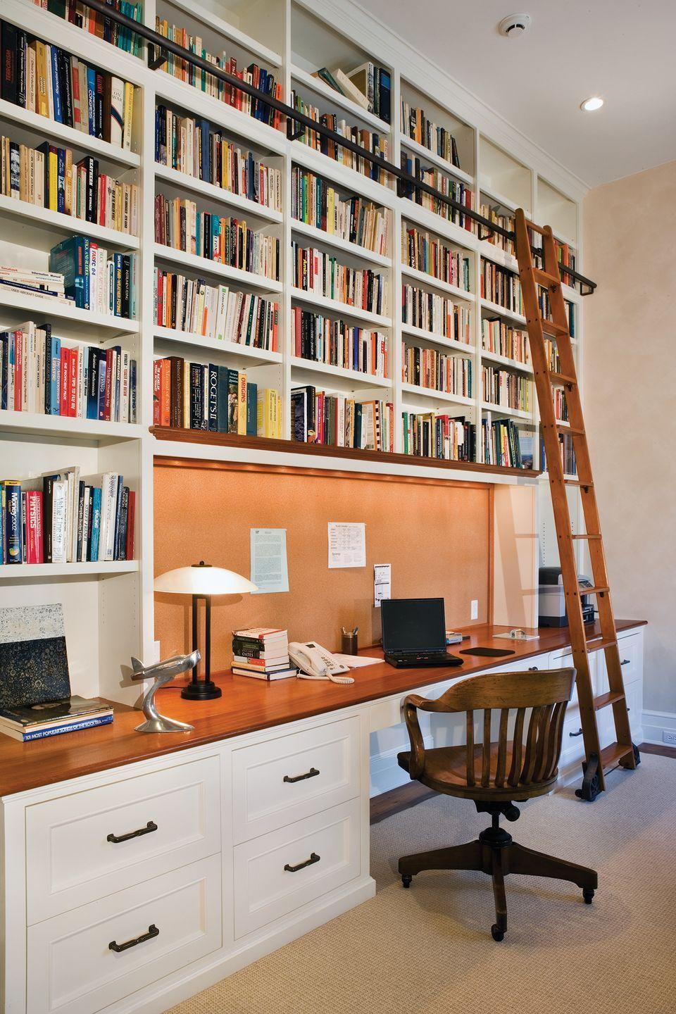 <p>There's no reason why your desk shouldn't be a part of your home library. Incorporate a smart design right into your built-in bookshelves to maximize space.</p>
