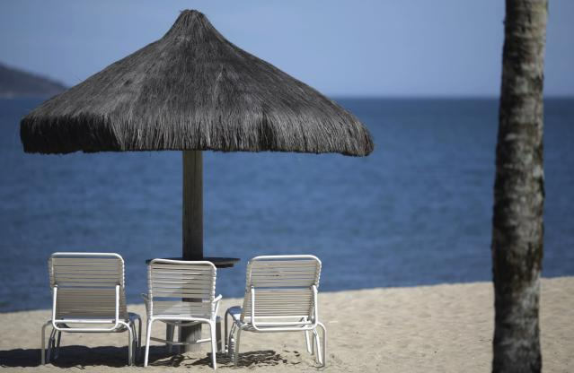 A private beach of the Portobello Resort, where the Italy soccer team will be based during the 2014 World Cup, is pictured in Mangaratiba, March 11, 2014. REUTERS/Ricardo Moraes (BRAZIL - Tags: SPORT SOCCER WORLD CUP TRAVEL SOCIETY)