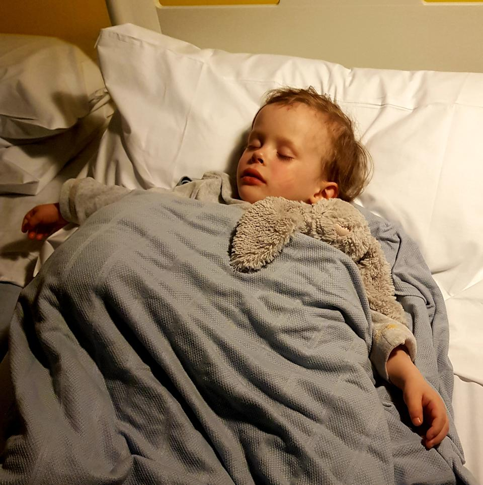 Eli after he was discharged from hospital following a severe allergic reaction to cake crumbs, which almost killed him (supplied, Lucille Whiting)