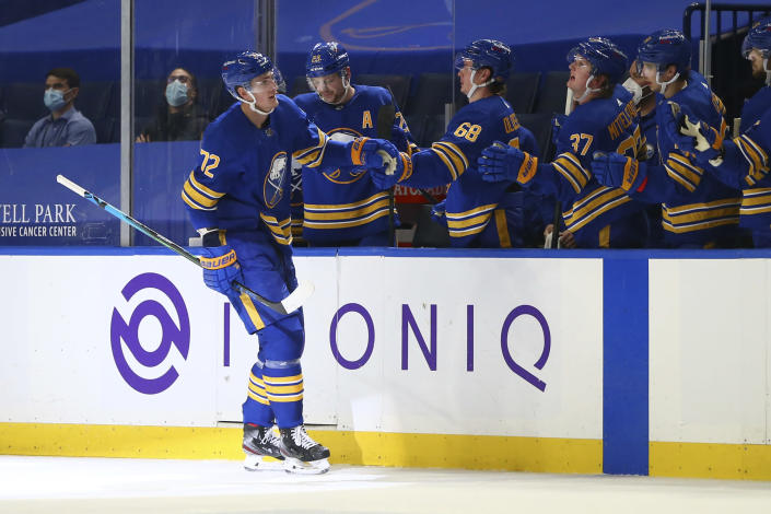 Buffalo Sabres forward Tage Thompson (72) celebrates his goal during the second period of an NHL hockey game against the New York Islanders, Monday, May 3, 2021, in Buffalo, N.Y. (AP Photo/Jeffrey T. Barnes)
