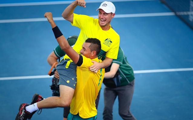 Kyrgios and Hewitt celebrate Australia's Davis Cup victory over the US last month - AFP
