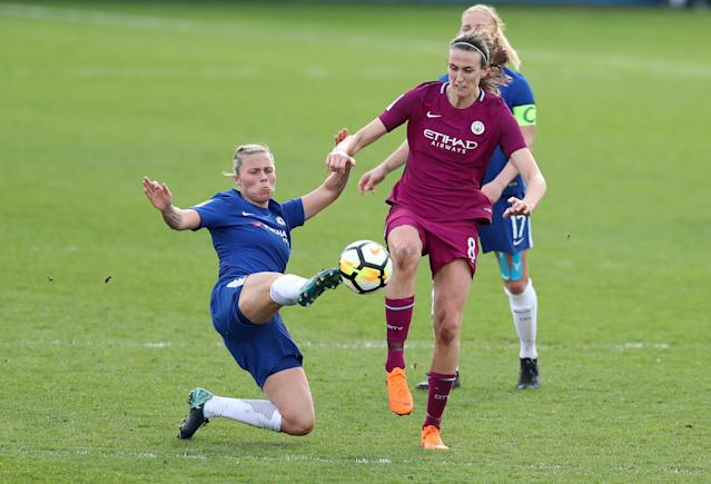 Soccer Football - Women's FA Cup Semi Final - Chelsea vs Manchester City - The Cherry Red Records Stadium, London, Britain - April 15, 2018 Chelsea's Gilly Flaherty in action with Manchester City's Abbie McManus Action Images/Peter Cziborra