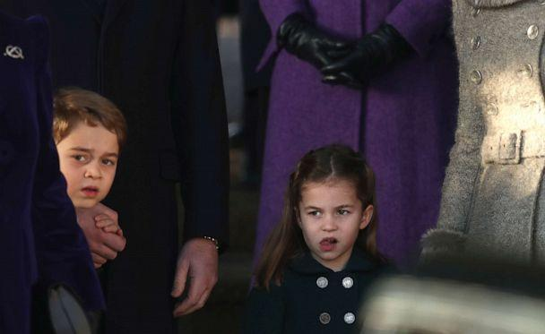 PHOTO: Britain's Prince George and his sister Princess Charlotte after attending a Christmas day service at the St Mary Magdalene Church in Sandringham in Norfolk, England, Dec. 25, 2019. (Jon Super/AP)