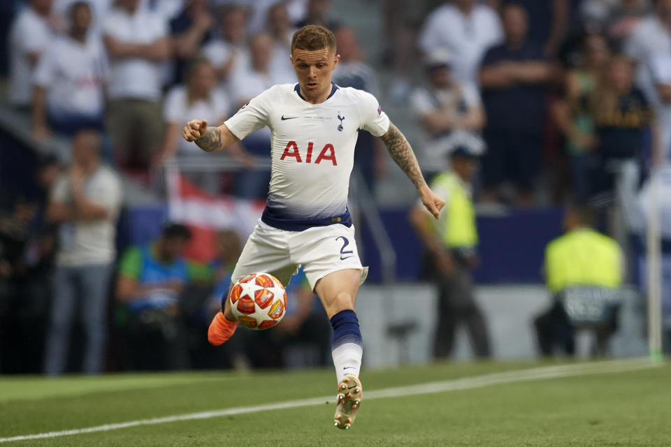 Kieran Trippier of Tottenham during the UEFA Champions League Final between Tottenham Hotspur and Liverpool at Estadio Wanda Metropolitano on June 1, 2019 in Madrid, Spain. (Photo by Jose Breton/NurPhoto via Getty Images)
