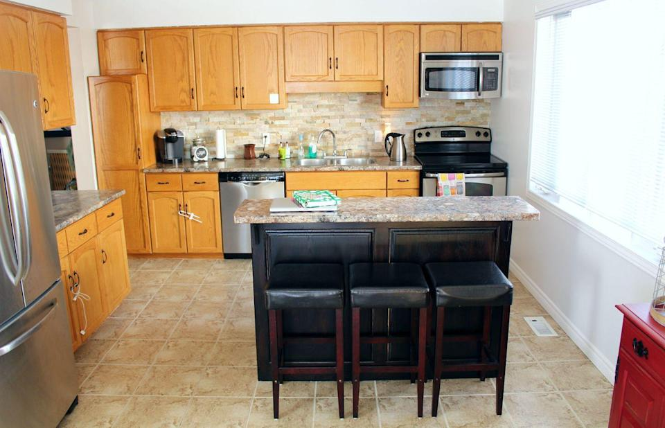 <p>This blogger wanted to paint her wooden cabinets gray for a more upscale-farmhouse feel.</p>