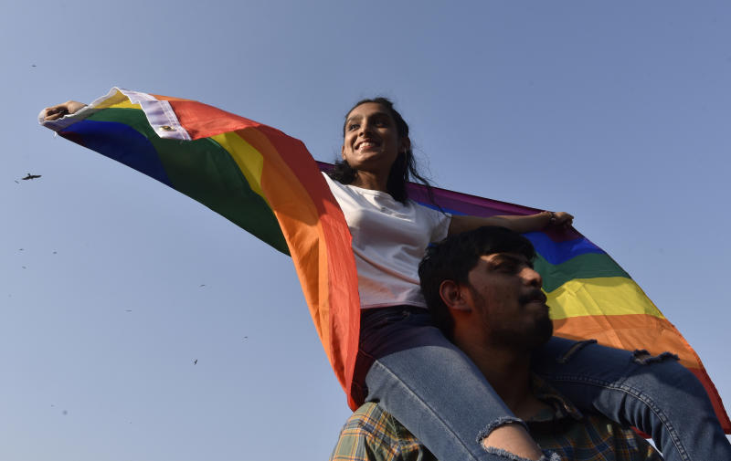 MUMBAI, INDIA - FEBRUARY 1: LGBTQ+ community members participate in Queer Azaadi March 2020 held at Azaad Maidan, on February 1, 2020 in Mumbai, India. The Queer Azaadi March this time was cut short to a gathering, after Mumbai Police denied them the permission at their long standing venue of August Kranti Maidan, from where the pride would walk around 4 kilometers and reach back the start point. However, fearing that the Anti-CAA and NRC protesters might infiltrate the Queer Azaadi March, Mumbai Police denied them the permission for August Kranti Maidan, thus limiting it to a gathering at Azaad Maidan. (Photo by Anshuman Poyrekar/Hindustan Times via Getty Images)