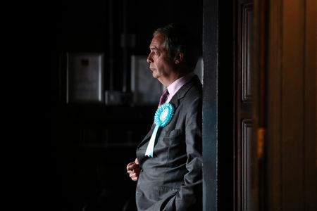 FILE PHOTO: Brexit Party leader Nigel Farage attends a Brexit Party campaign event in Essex
