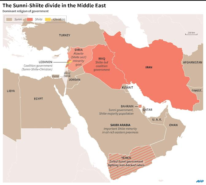 Map of the Middle East showing countries by the dominant religion of the government. 180 x 161 mm (AFP Photo/Gillian Handyside )