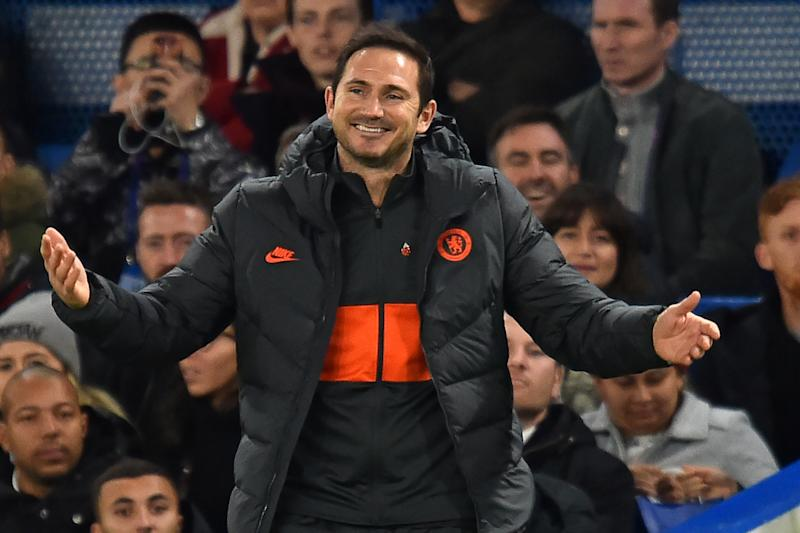 Chelsea's English head coach Frank Lampard gestures on the touchline after only four minutes of injury time is indicated during the UEFA Champion's League Group H football match between Chelsea and Ajax at Stamford Bridge in London on November 5, 2019. - The game finished 4-4. (Photo by Glyn KIRK / AFP) (Photo by GLYN KIRK/AFP via Getty Images)
