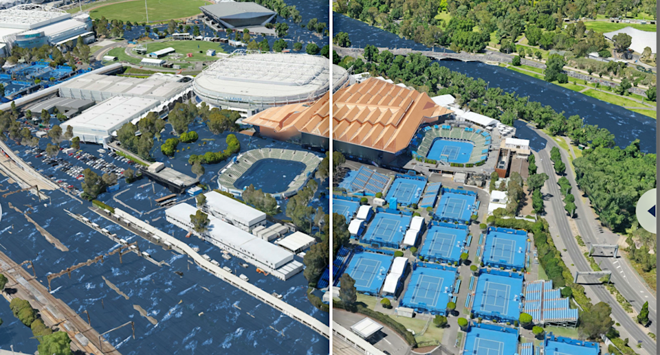 Melbourne's tennis centre by the Yarra River at a 3 degrees temperature rise verses 1.5 degrees. Source: Climate Central