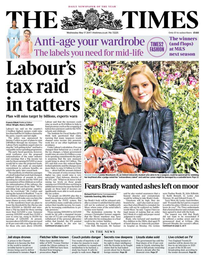 <p>The Times was less than complimentary about Labour's pledges, pointing out a billions-wide gap in Corbyn's costings. </p>